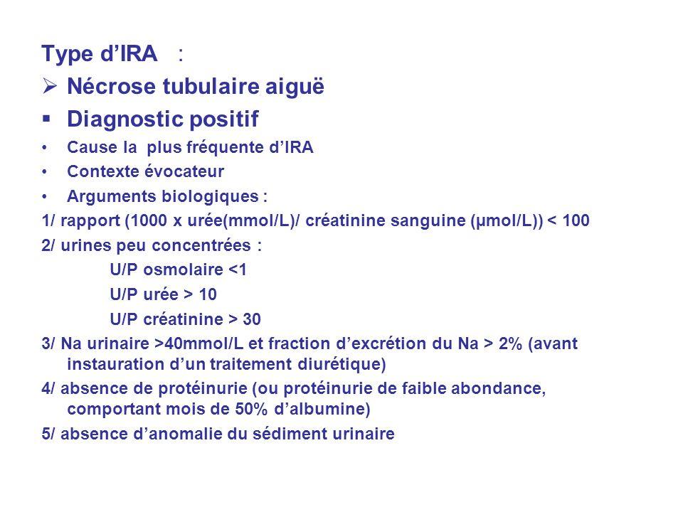 Type dIRA : Nécrose tubulaire aiguë Diagnostic positif Cause la plus fréquente dIRA Contexte évocateur Arguments biologiques : 1/ rapport (1000 x urée(mmol/L)/ créatinine sanguine (µmol/L)) < 100 2/ urines peu concentrées : U/P osmolaire <1 U/P urée > 10 U/P créatinine > 30 3/ Na urinaire >40mmol/L et fraction dexcrétion du Na > 2% (avant instauration dun traitement diurétique) 4/ absence de protéinurie (ou protéinurie de faible abondance, comportant mois de 50% dalbumine) 5/ absence danomalie du sédiment urinaire