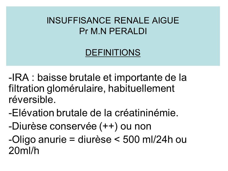 INSUFFISANCE RENALE AIGUE Pr M.N PERALDI DEFINITIONS -IRA : baisse brutale et importante de la filtration glomérulaire, habituellement réversible.