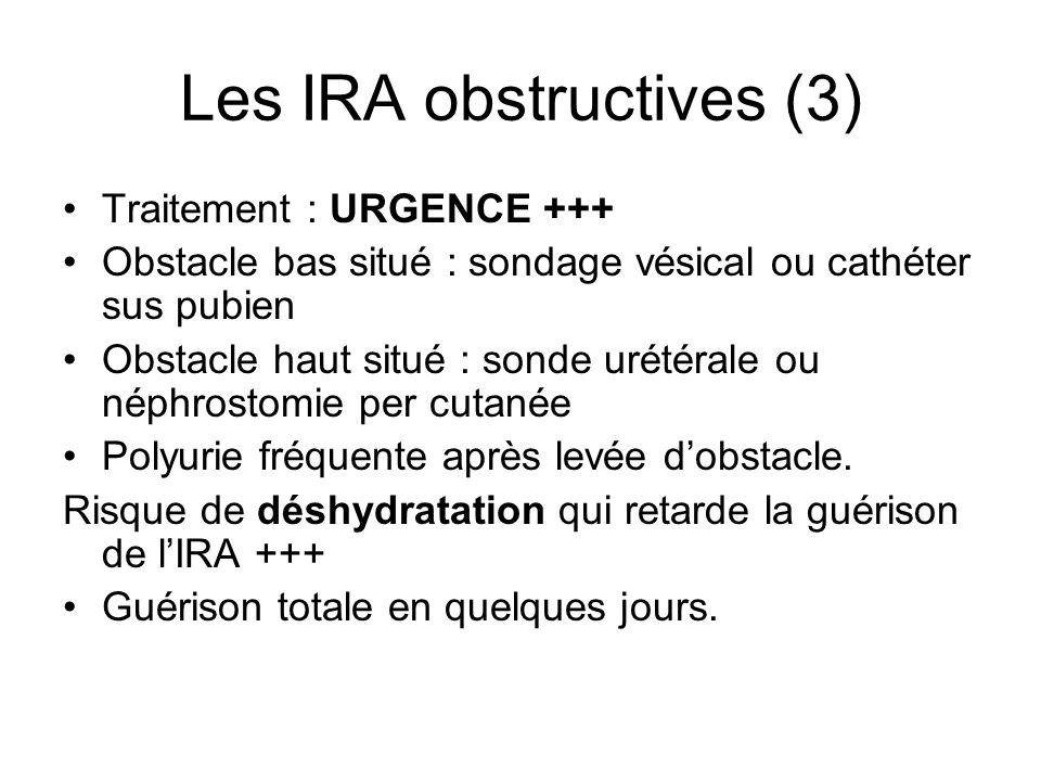 Les IRA obstructives (3) Traitement : URGENCE +++ Obstacle bas situé : sondage vésical ou cathéter sus pubien Obstacle haut situé : sonde urétérale ou néphrostomie per cutanée Polyurie fréquente après levée dobstacle.