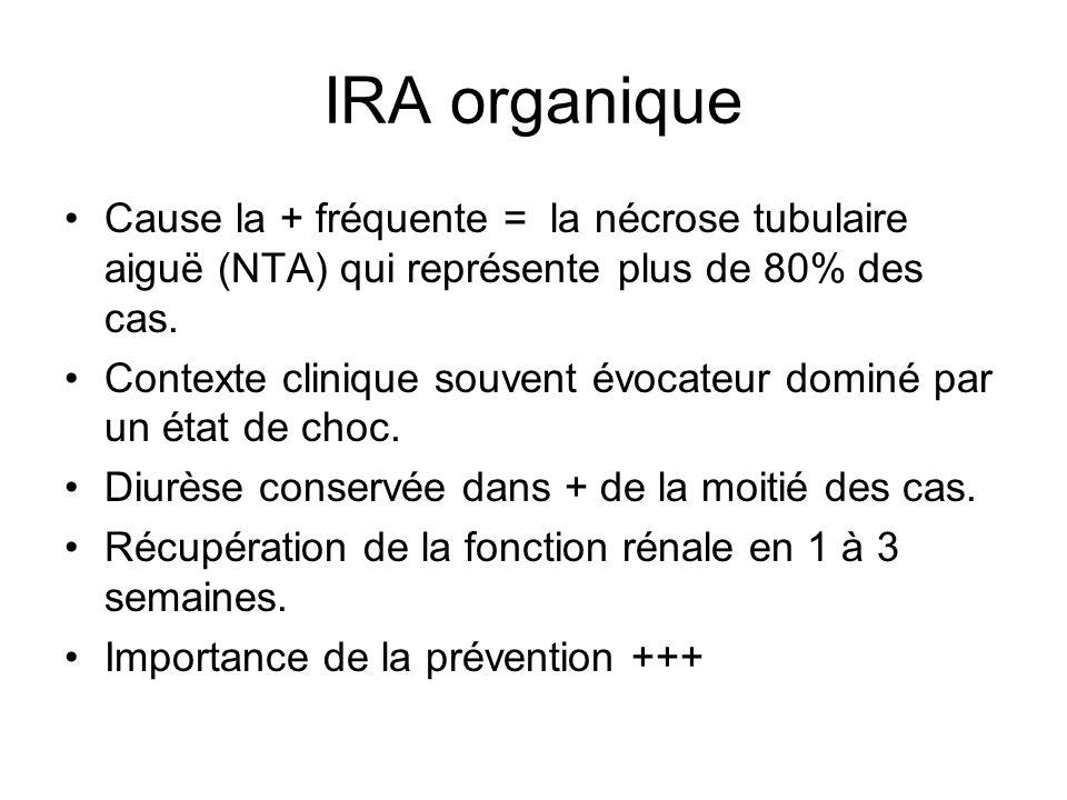 IRA organique Cause la + fréquente = la nécrose tubulaire aiguë (NTA) qui représente plus de 80% des cas.