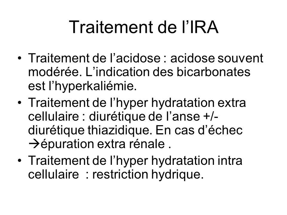 Traitement de lIRA Traitement de lacidose : acidose souvent modérée.