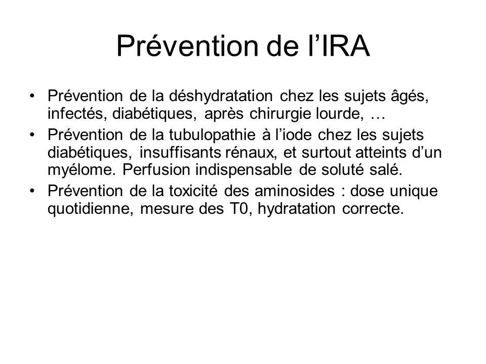 Prévention de lIRA Prévention de la déshydratation chez les sujets âgés, infectés, diabétiques, après chirurgie lourde, … Prévention de la tubulopathie à liode chez les sujets diabétiques, insuffisants rénaux, et surtout atteints dun myélome.