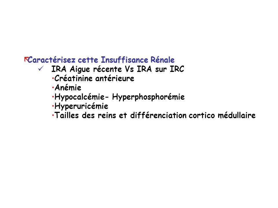 ãCaractérisez cette Insuffisance Rénale IRA Aigue récente Vs IRA sur IRC Créatinine antérieure Anémie Hypocalcémie- Hyperphosphorémie Hyperuricémie Tailles des reins et différenciation cortico médullaire