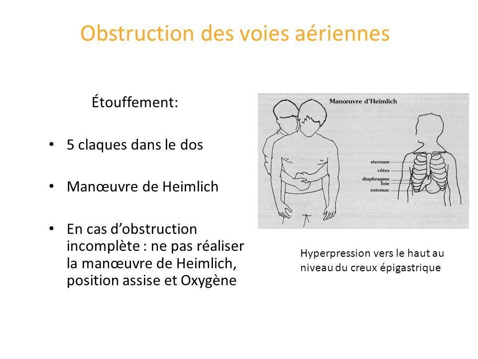 Obstruction des voies aériennes Étouffement: 5 claques dans le dos Manœuvre de Heimlich En cas dobstruction incomplète : ne pas réaliser la manœuvre d