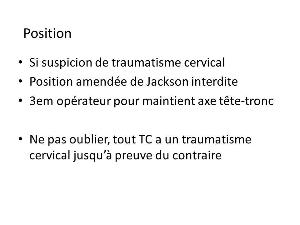 Si suspicion de traumatisme cervical Position amendée de Jackson interdite 3em opérateur pour maintient axe tête-tronc Ne pas oublier, tout TC a un tr