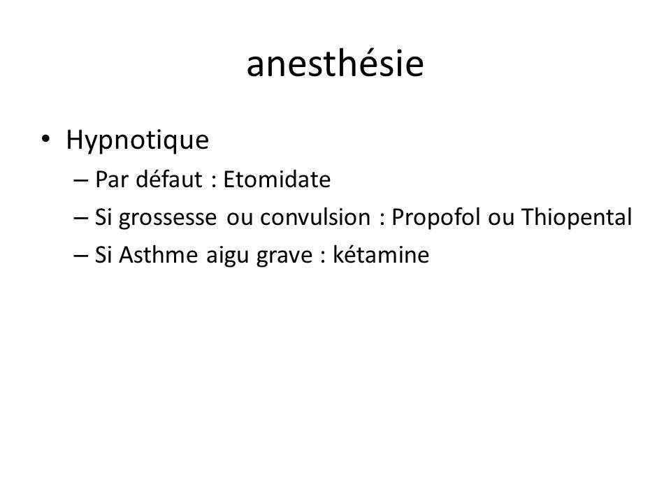 anesthésie Hypnotique – Par défaut : Etomidate – Si grossesse ou convulsion : Propofol ou Thiopental – Si Asthme aigu grave : kétamine