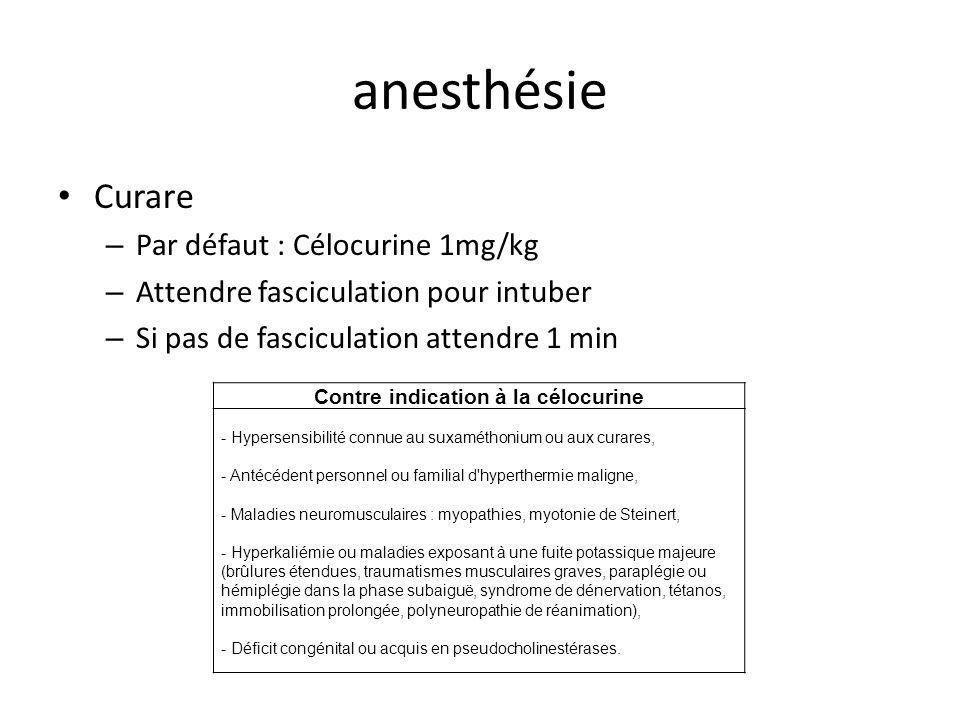 anesthésie Curare – Par défaut : Célocurine 1mg/kg – Attendre fasciculation pour intuber – Si pas de fasciculation attendre 1 min Contre indication à