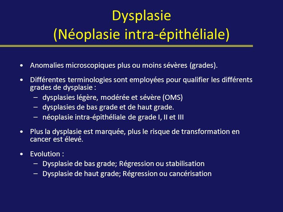 Dysplasie (Néoplasie intra-épithéliale) Anomalies microscopiques plus ou moins sévères (grades). Différentes terminologies sont employées pour qualifi