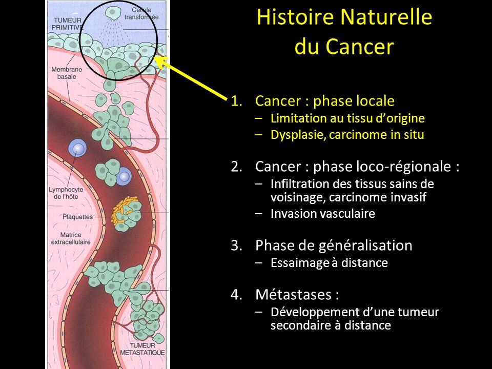 Histoire Naturelle du Cancer 1.Cancer : phase locale –Limitation au tissu dorigine –Dysplasie, carcinome in situ 2.Cancer : phase loco-régionale : –In