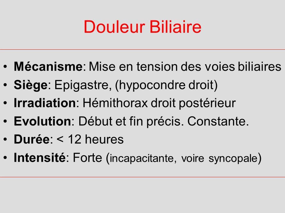 Douleur Biliaire Mécanisme: Mise en tension des voies biliaires Siège: Epigastre, (hypocondre droit) Irradiation: Hémithorax droit postérieur Evolutio