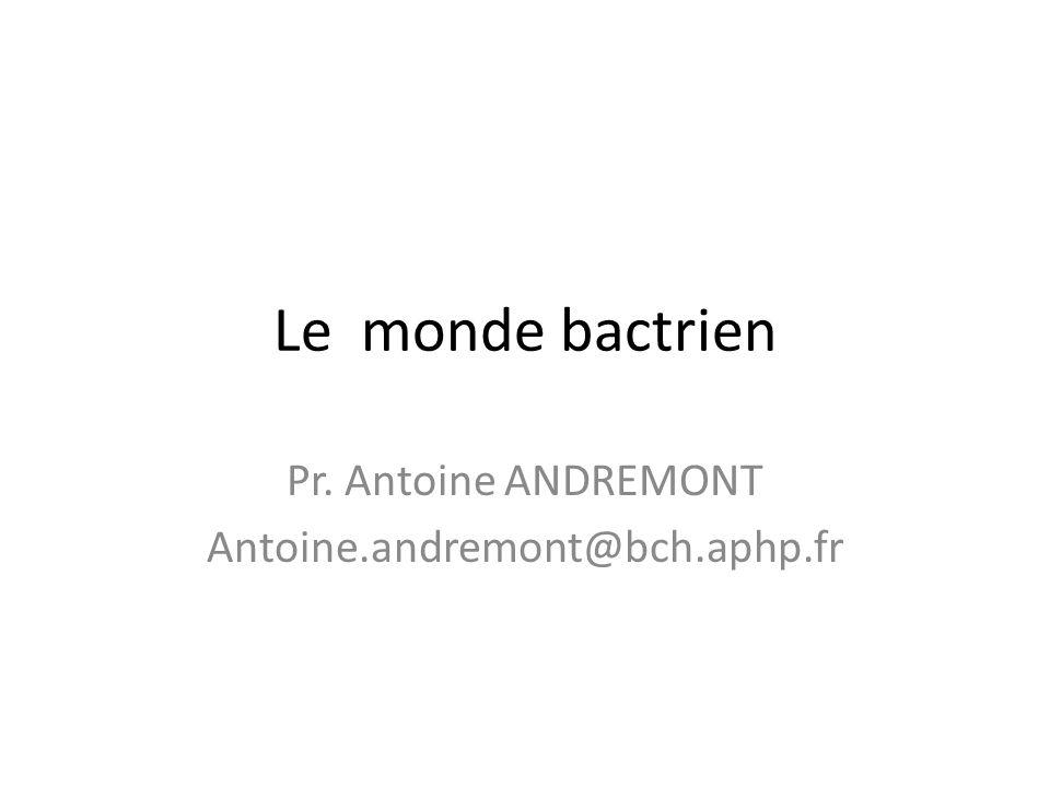 Le monde bactrien Pr. Antoine ANDREMONT Antoine.andremont@bch.aphp.fr