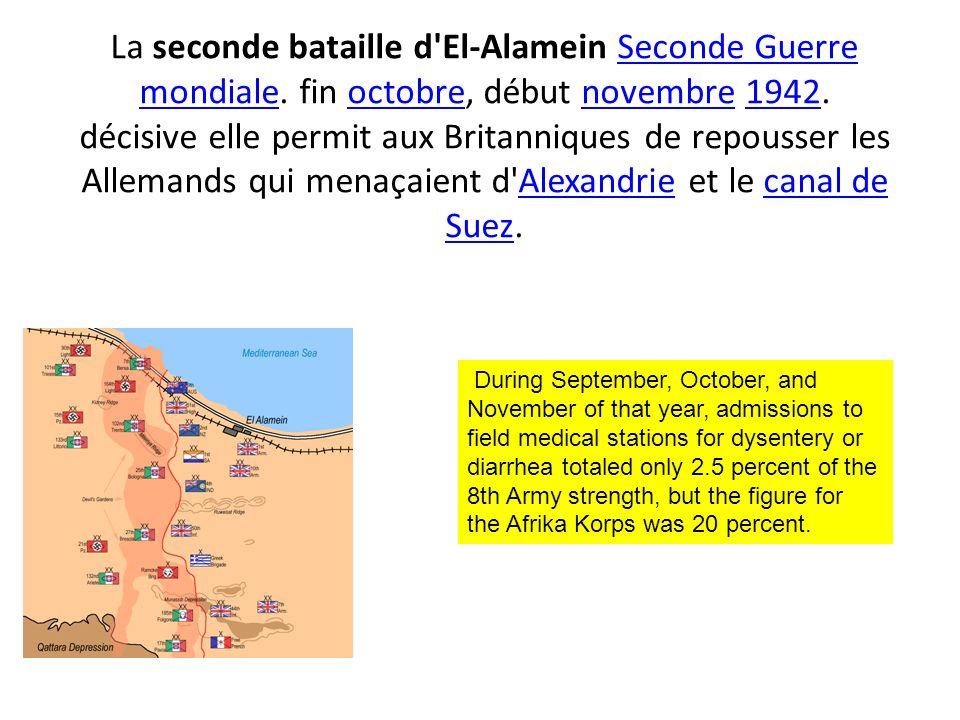 La seconde bataille d'El-Alamein Seconde Guerre mondiale. fin octobre, début novembre 1942. décisive elle permit aux Britanniques de repousser les All