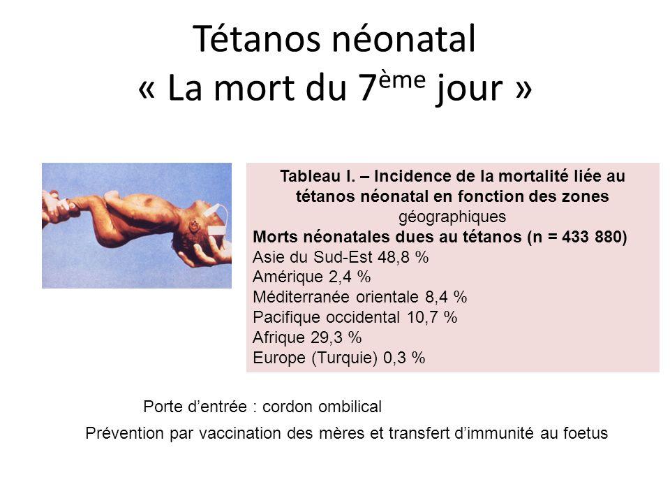 Tétanos néonatal « La mort du 7 ème jour » Tableau I. – Incidence de la mortalité liée au tétanos néonatal en fonction des zones géographiques Morts n