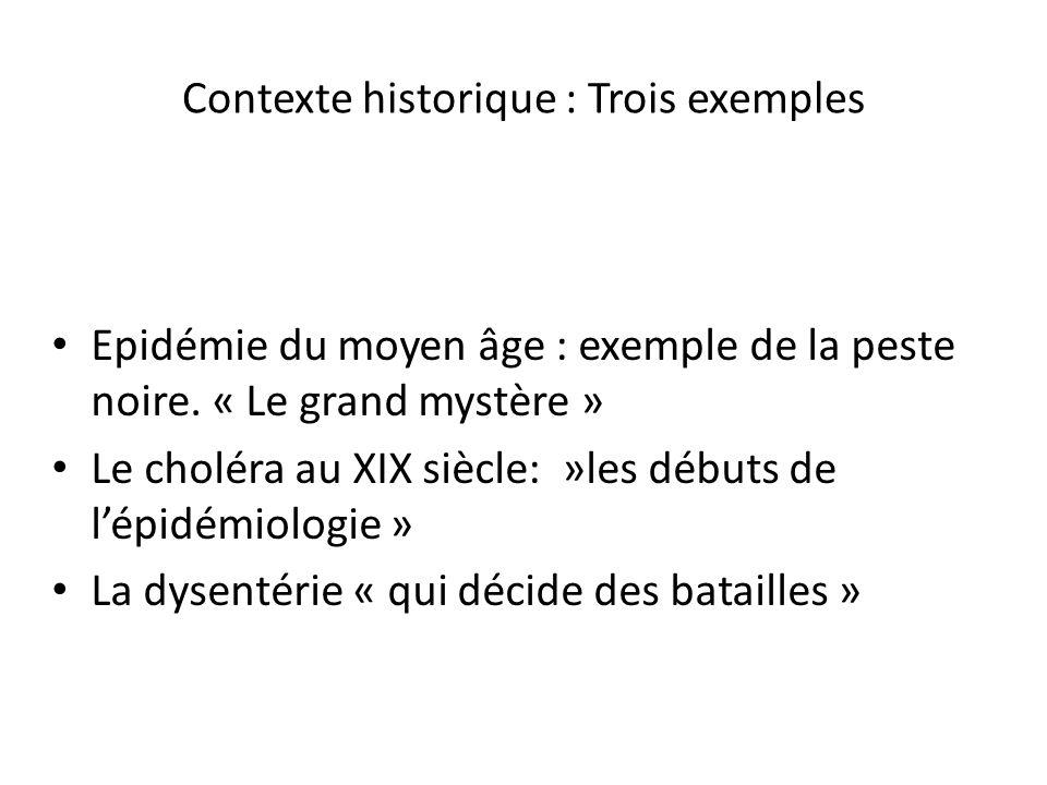 Contexte historique : Trois exemples Epidémie du moyen âge : exemple de la peste noire. « Le grand mystère » Le choléra au XIX siècle: »les débuts de