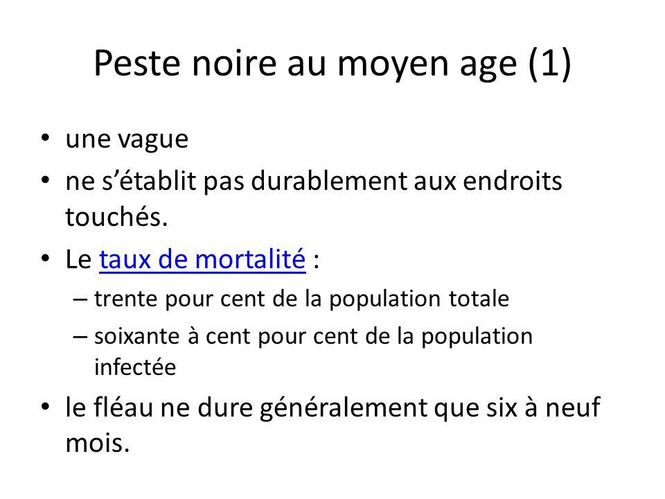 Peste noire au moyen age (1) une vague ne sétablit pas durablement aux endroits touchés. Le taux de mortalité :taux de mortalité – trente pour cent de