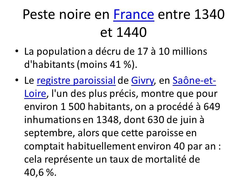 Peste noire en France entre 1340 et 1440France La population a décru de 17 à 10 millions d'habitants (moins 41 %). Le registre paroissial de Givry, en