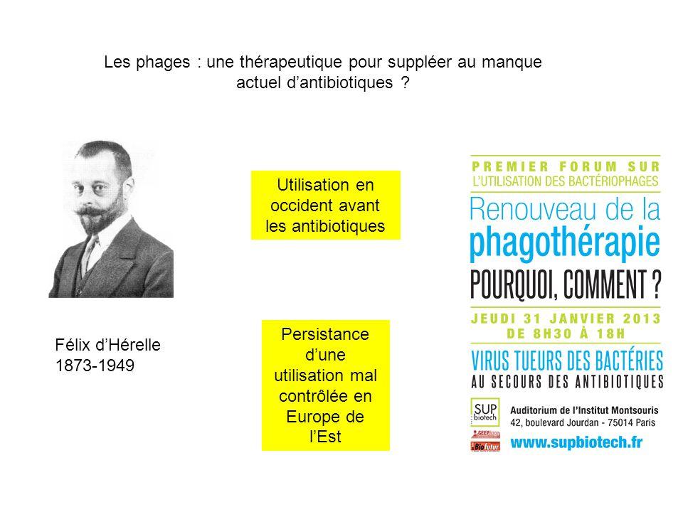 Les phages : une thérapeutique pour suppléer au manque actuel dantibiotiques ? Félix dHérelle 1873-1949 Utilisation en occident avant les antibiotique