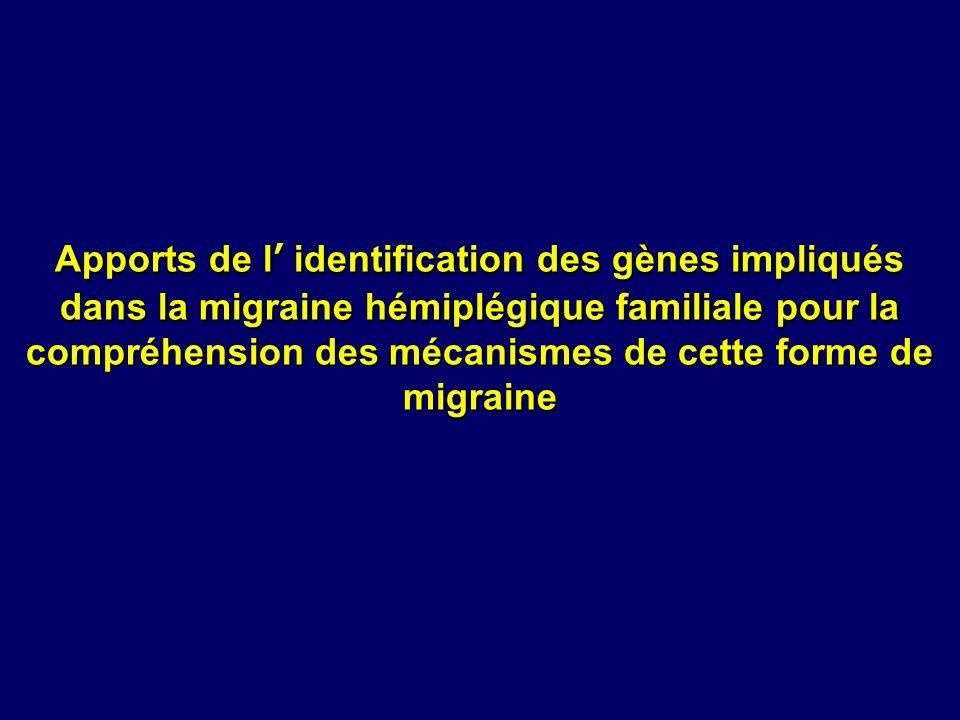 Apports de l identification des gènes impliqués dans la migraine hémiplégique familiale pour la compréhension des mécanismes de cette forme de migrain