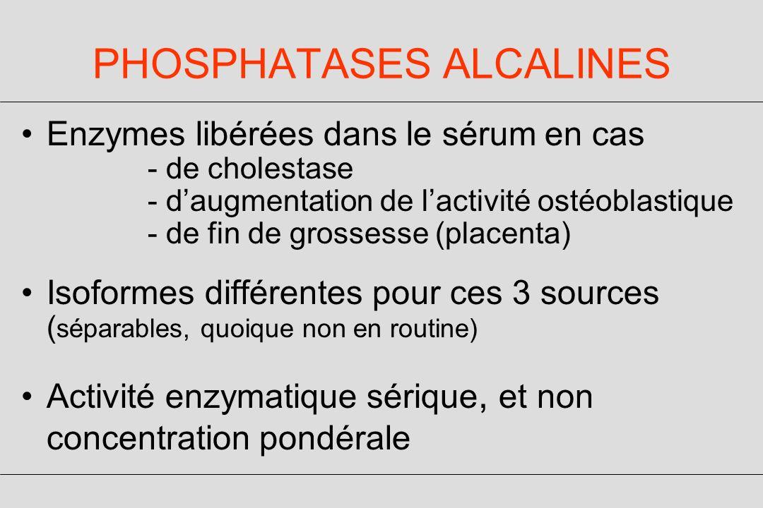 PHOSPHATASES ALCALINES Enzymes libérées dans le sérum en cas - de cholestase - daugmentation de lactivité ostéoblastique - de fin de grossesse (placenta) Isoformes différentes pour ces 3 sources ( séparables, quoique non en routine) Activité enzymatique sérique, et non concentration pondérale