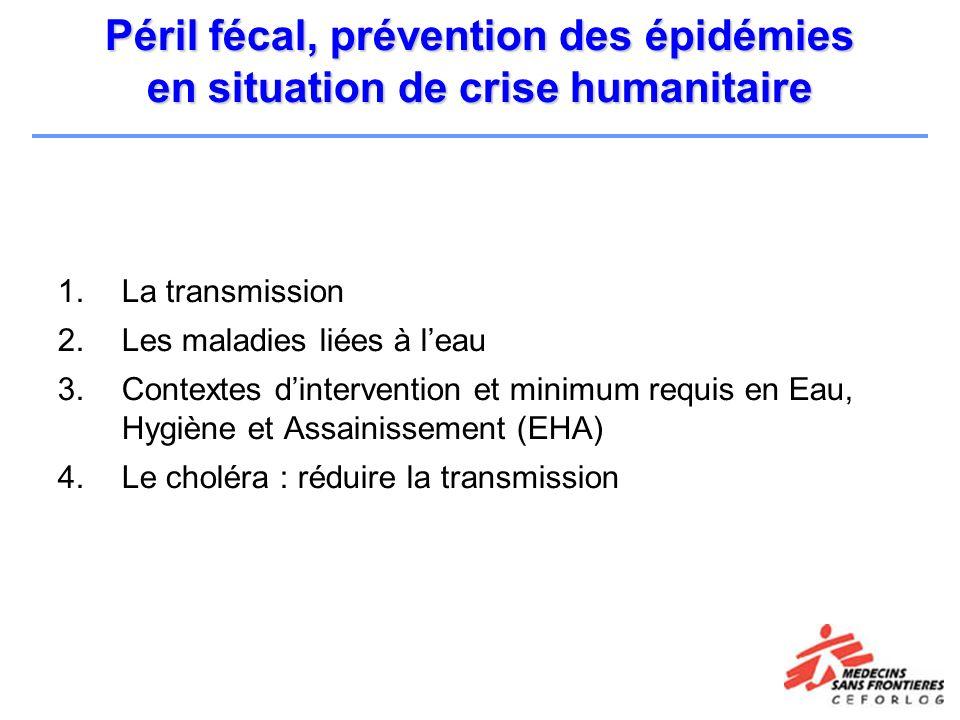 Péril fécal, prévention des épidémies en situation de crise humanitaire 1.La transmission 2.Les maladies liées à leau 3.Contextes dintervention et min