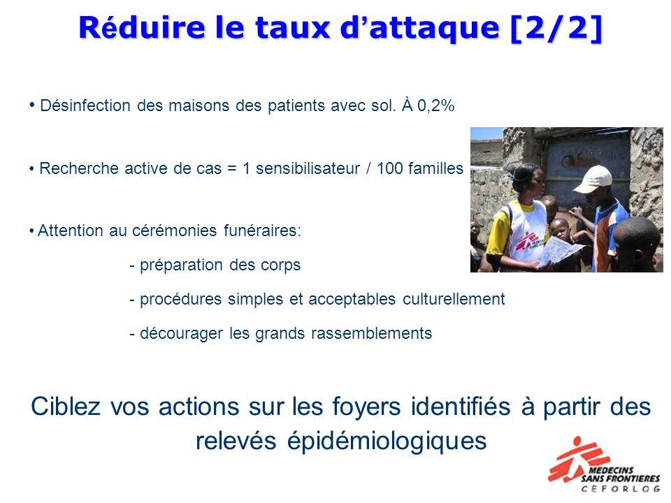 R é duire le taux d attaque [2/2] R é duire le taux d attaque [2/2] Désinfection des maisons des patients avec sol. À 0,2% Recherche active de cas = 1
