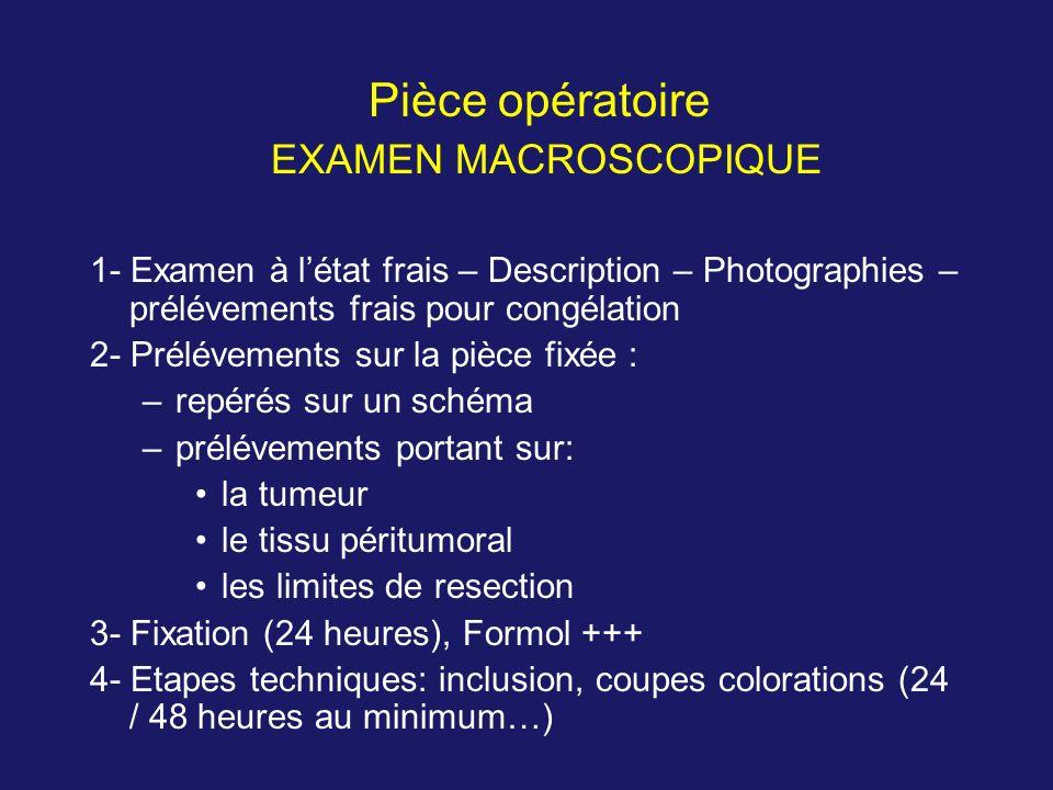 Pièce opératoire EXAMEN MACROSCOPIQUE 1- Examen à létat frais – Description – Photographies – prélévements frais pour congélation 2- Prélévements sur