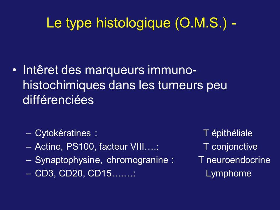 Intêret des marqueurs immuno- histochimiques dans les tumeurs peu différenciées –Cytokératines : T épithéliale –Actine, PS100, facteur VIII….: T conjo