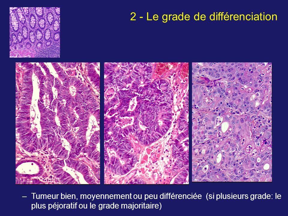 –Tumeur bien, moyennement ou peu différenciée (si plusieurs grade: le plus péjoratif ou le grade majoritaire) 2 - Le grade de différenciation