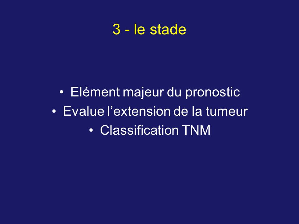 Elément majeur du pronostic Evalue lextension de la tumeur Classification TNM 3 - le stade