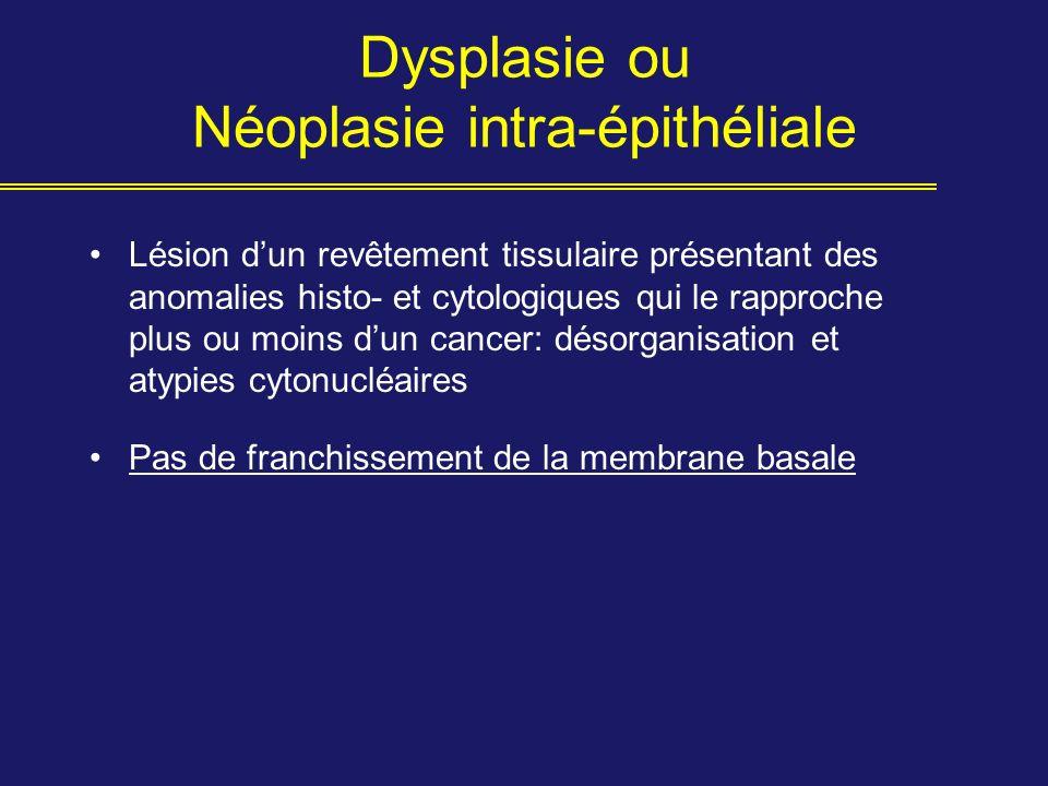 Dysplasie ou Néoplasie intra-épithéliale Lésion dun revêtement tissulaire présentant des anomalies histo- et cytologiques qui le rapproche plus ou moi