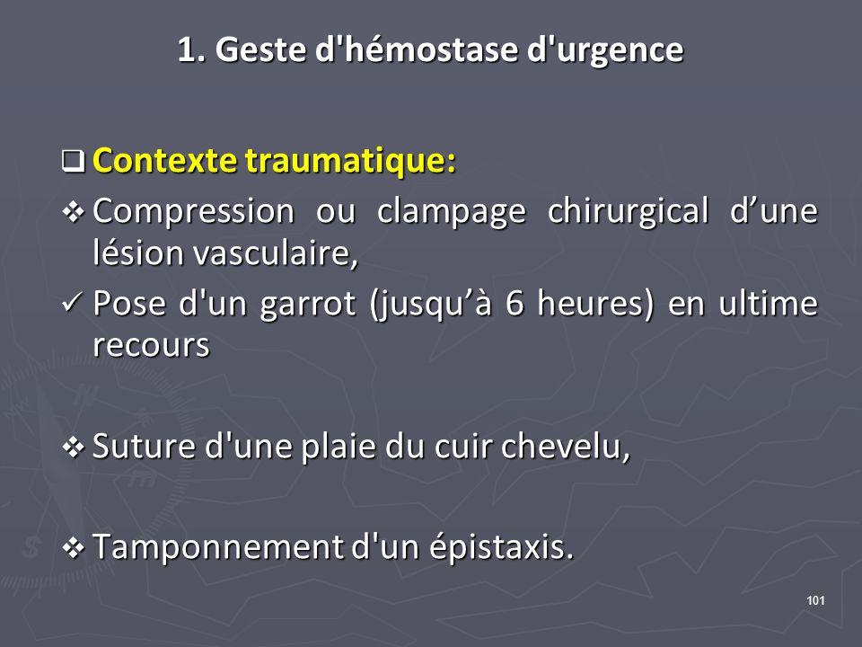 101 1. Geste d'hémostase d'urgence Contexte traumatique: Contexte traumatique: Compression ou clampage chirurgical dune lésion vasculaire, Compression