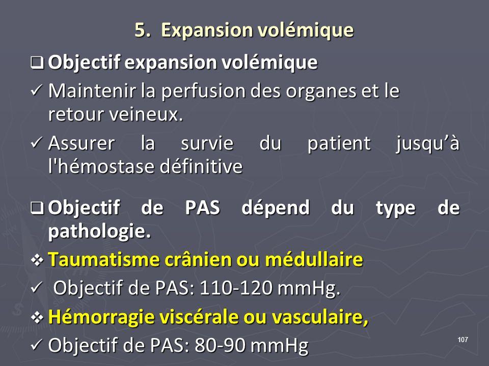 107 5. Expansion volémique Objectif expansion volémique Objectif expansion volémique Maintenir la perfusion des organes et le retour veineux. Mainteni