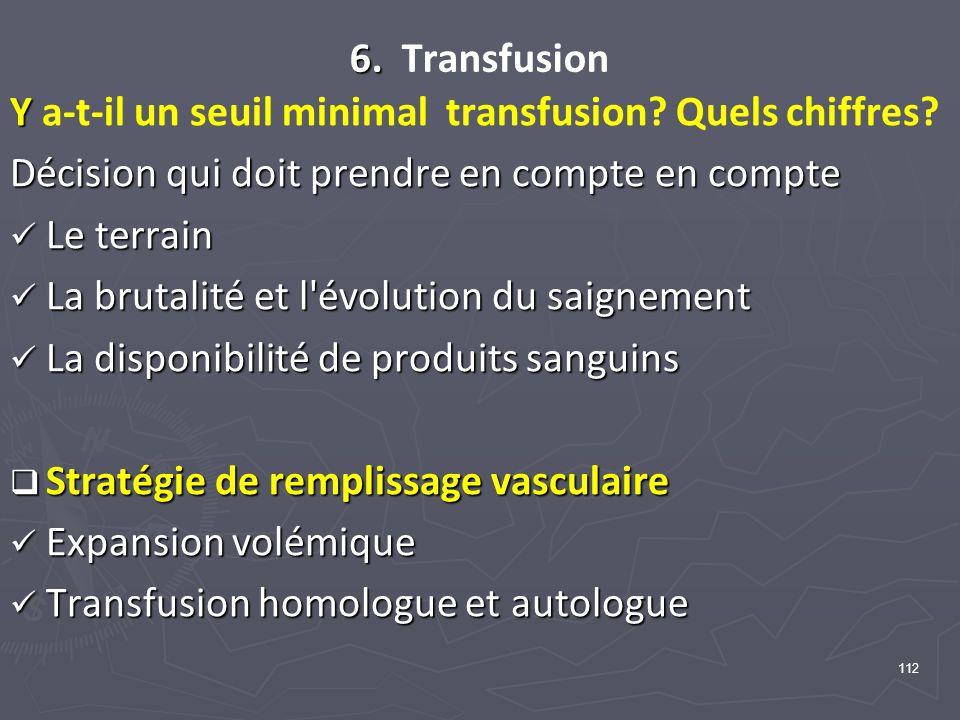 112 6. 6. Transfusion Y Y a-t-il un seuil minimal transfusion? Quels chiffres? Décision qui doit prendre en compte en compte Le terrain Le terrain La