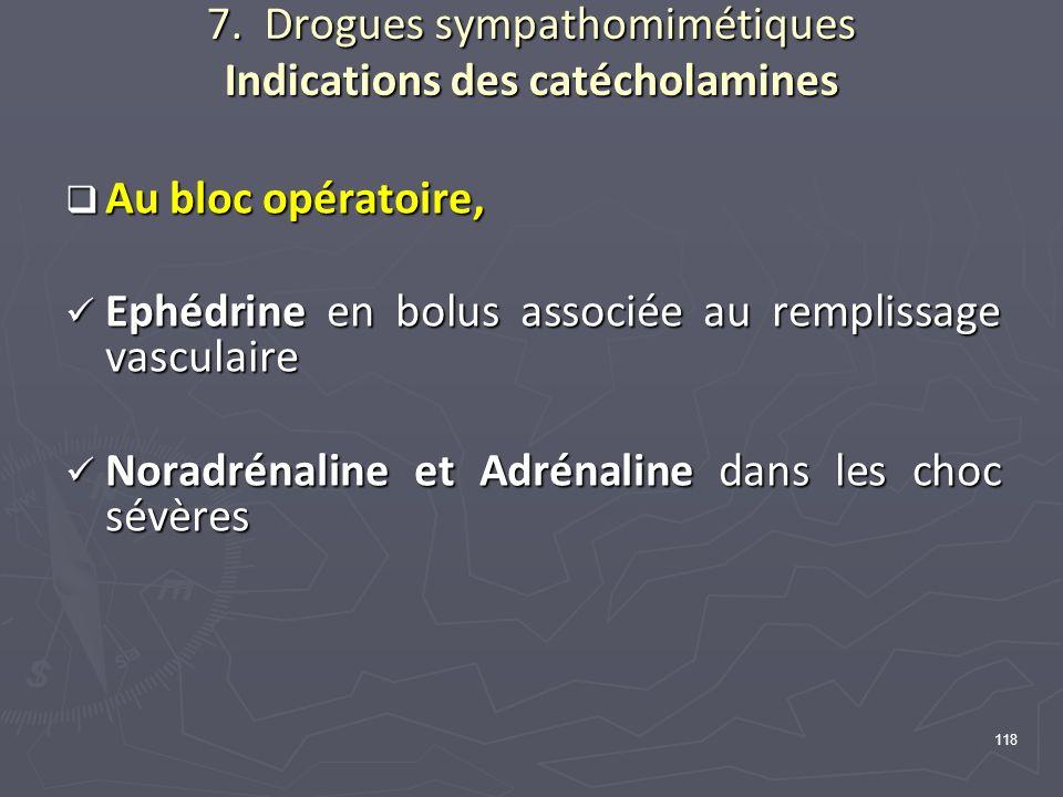 118 7. Drogues sympathomimétiques Indications des catécholamines Au bloc opératoire, Au bloc opératoire, Ephédrine en bolus associée au remplissage va