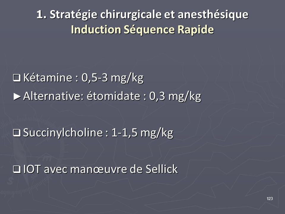 123 1. Stratégie chirurgicale et anesthésique Induction Séquence Rapide Kétamine : 0,5-3 mg/kg Kétamine : 0,5-3 mg/kg Alternative: étomidate : 0,3 mg/