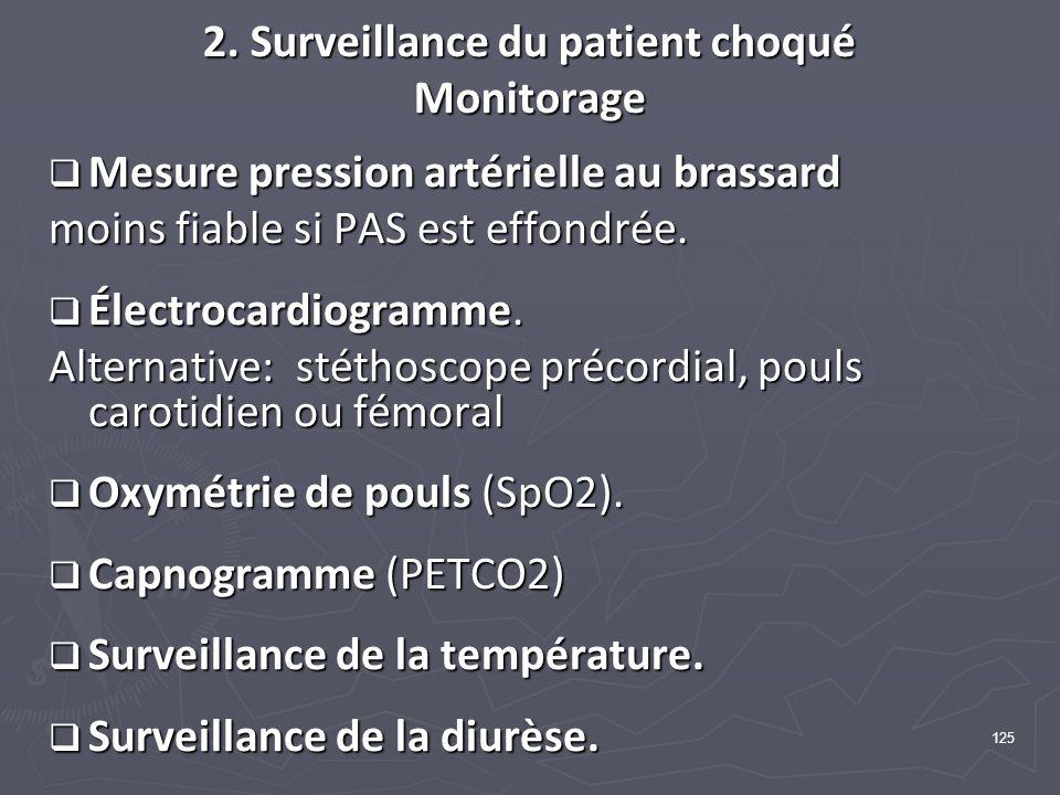 125 2. Surveillance du patient choqué Monitorage Mesure pression artérielle au brassard Mesure pression artérielle au brassard moins fiable si PAS est