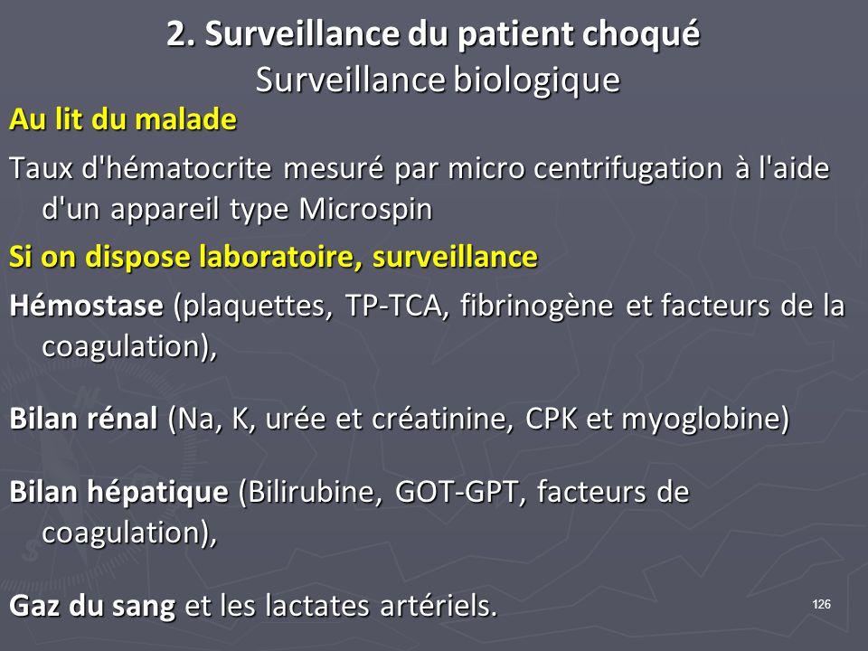 126 2. Surveillance du patient choqué Surveillance biologique Au lit du malade Taux d'hématocrite mesuré par micro centrifugation à l'aide d'un appare