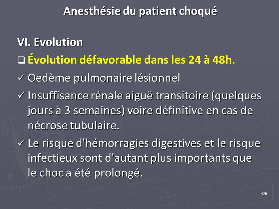 128 Anesthésie du patient choqué VI. Evolution Évolution défavorable dans les 24 à 48h. Oedème pulmonaire lésionnel Oedème pulmonaire lésionnel Insuff