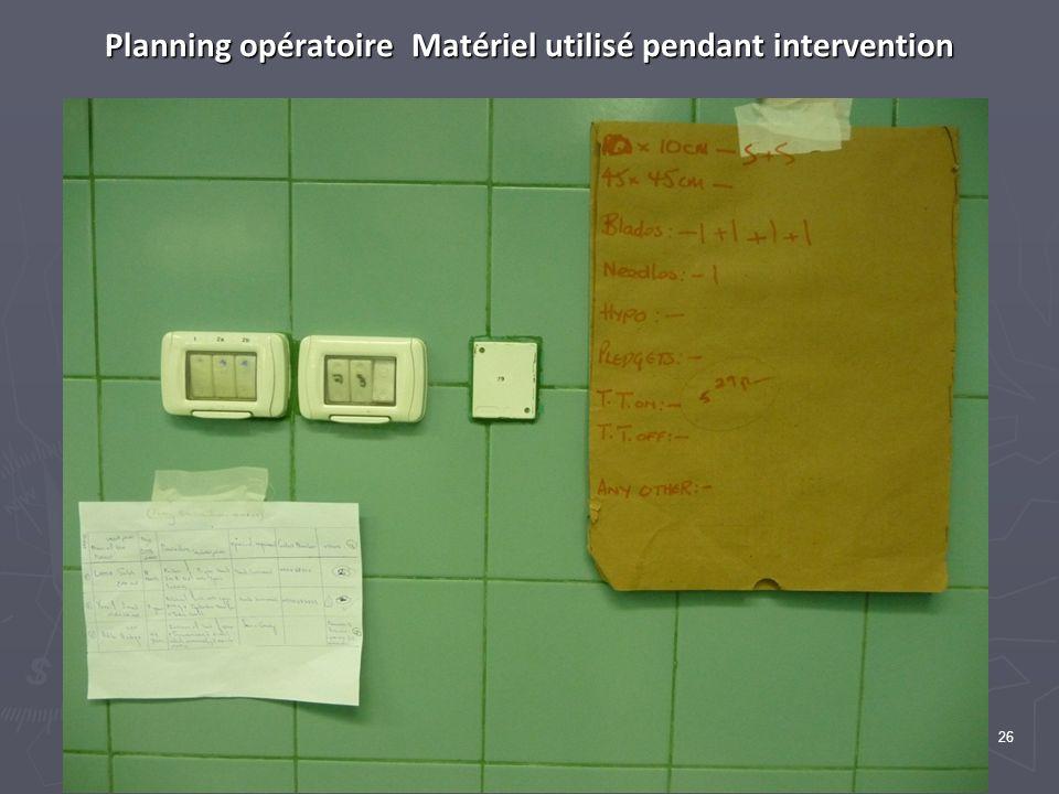 26 Planning opératoire Matériel utilisé pendant intervention