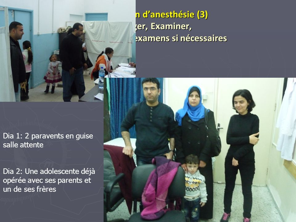 33 Consultation danesthésie (3) Interroger, Examiner, Demander des examens si nécessaires Dia 1: 2 paravents en guise salle attente Dia 2: Une adolesc
