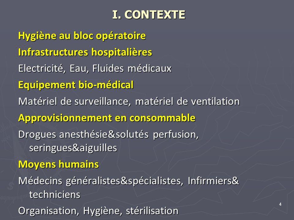 4 I. CONTEXTE I. CONTEXTE Hygiène au bloc opératoire Infrastructures hospitalières Electricité, Eau, Fluides médicaux Equipement bio-médical Matériel