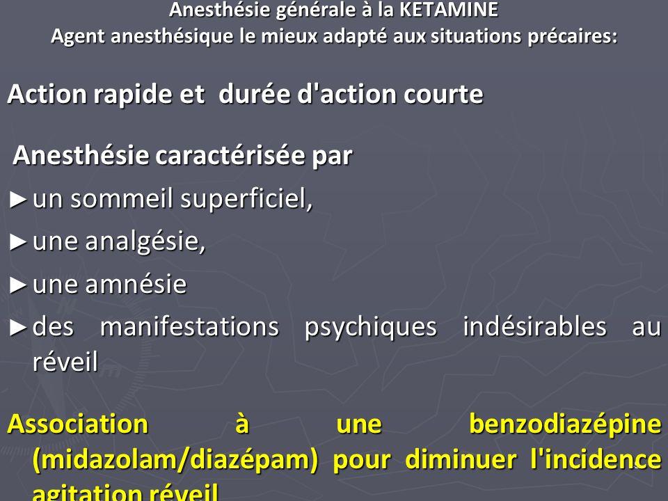 49 Anesthésie générale à la KETAMINE Agent anesthésique le mieux adapté aux situations précaires: Action rapide et durée d'action courte Anesthésie ca