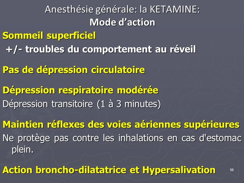 50 Anesthésie générale: la KETAMINE: Mode daction Sommeil superficiel +/- troubles du comportement au réveil +/- troubles du comportement au réveil Pas de dépression circulatoire Dépression respiratoire modérée Dépression transitoire (1 à 3 minutes) Maintien réflexes des voies aériennes supérieures Ne protège pas contre les inhalations en cas d estomac plein.