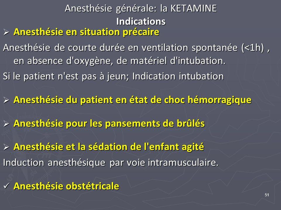 51 Anesthésie générale: la KETAMINE Indications Anesthésie en situation précaire Anesthésie en situation précaire Anesthésie de courte durée en ventil