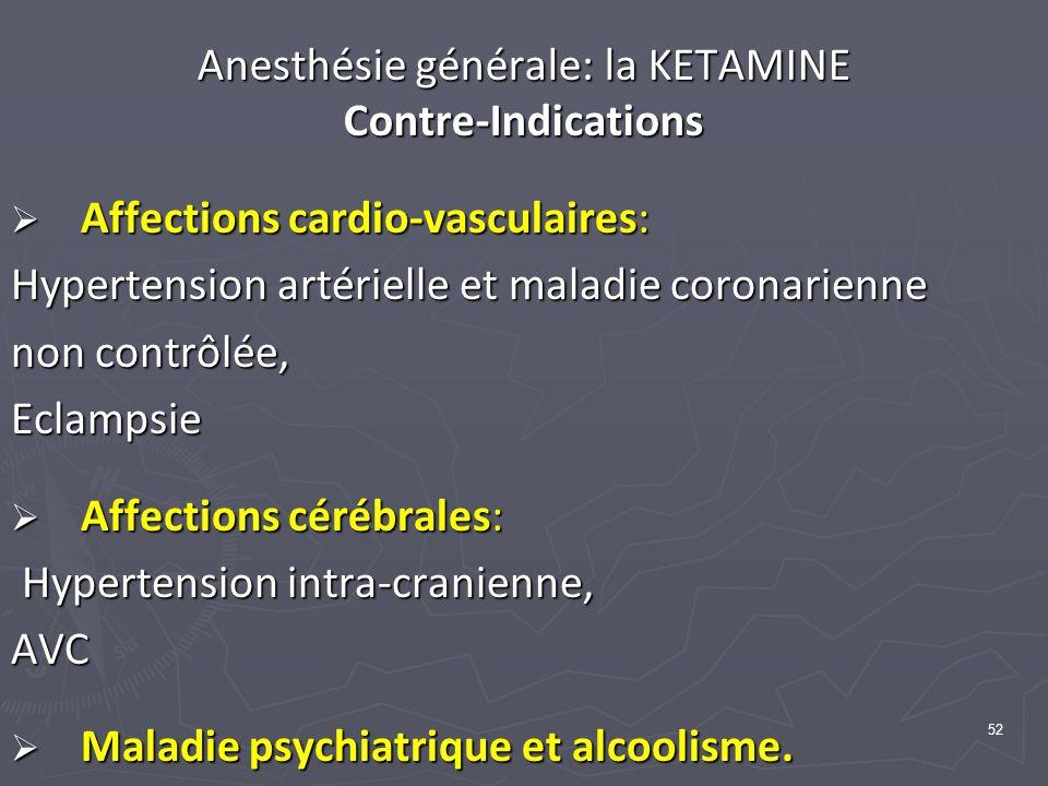 52 Anesthésie générale: la KETAMINE Contre-Indications Affections cardio-vasculaires: Affections cardio-vasculaires: Hypertension artérielle et maladie coronarienne non contrôlée, Eclampsie Affections cérébrales: Affections cérébrales: Hypertension intra-cranienne, Hypertension intra-cranienne,AVC Maladie psychiatrique et alcoolisme.
