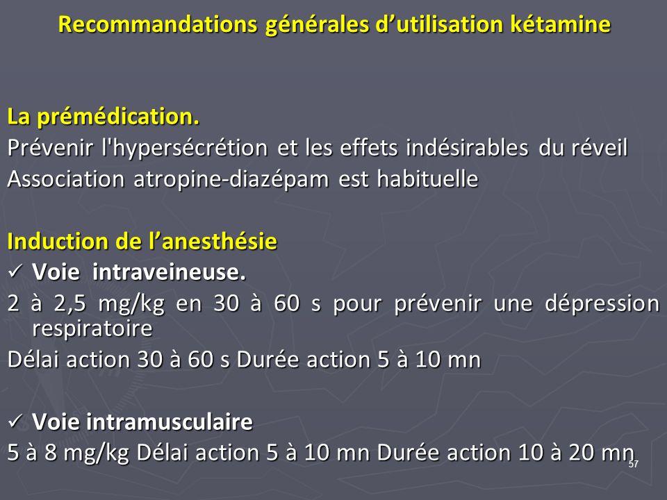 57 Recommandations générales dutilisation kétamine La prémédication. Prévenir l'hypersécrétion et les effets indésirables du réveil Association atropi