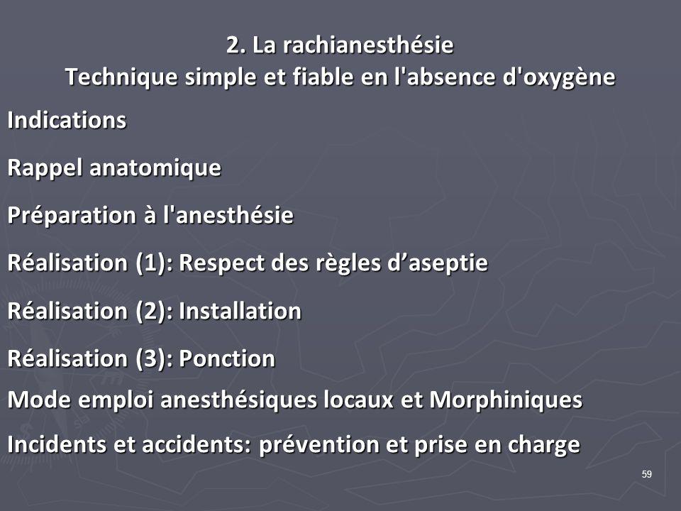 59 2. La rachianesthésie Technique simple et fiable en l'absence d'oxygène Indications Rappel anatomique Préparation à l'anesthésie Réalisation (1): R