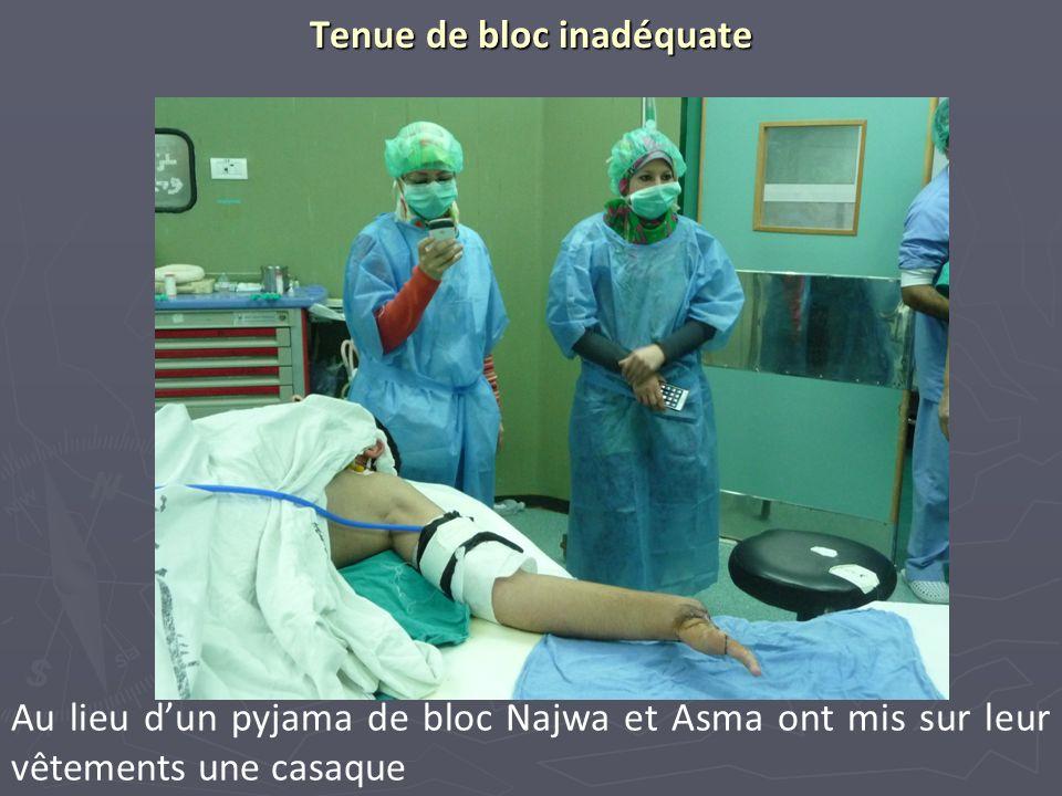 Tenue de bloc inadéquate Au lieu dun pyjama de bloc Najwa et Asma ont mis sur leur vêtements une casaque