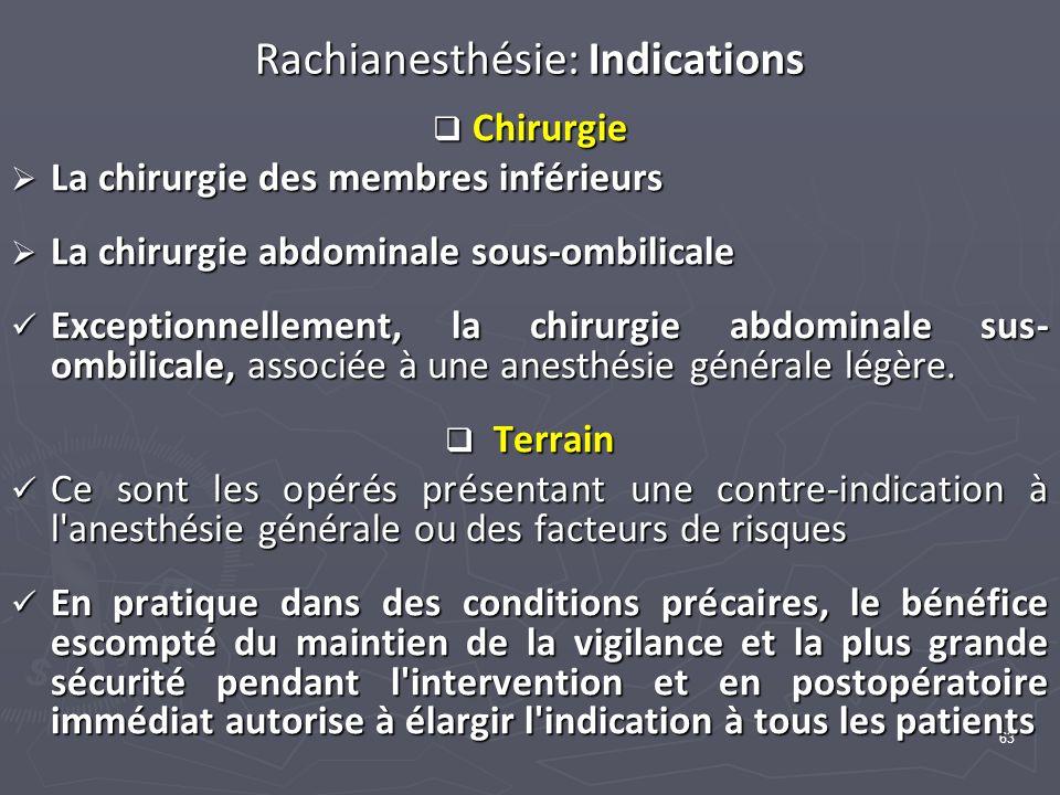 63 Rachianesthésie: Indications Chirurgie Chirurgie La chirurgie des membres inférieurs La chirurgie des membres inférieurs La chirurgie abdominale so