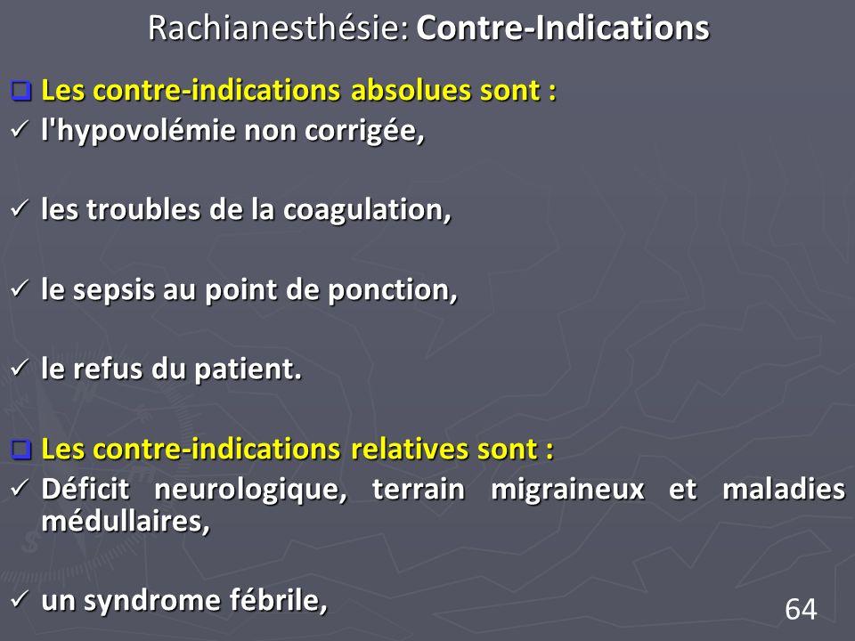 64 Rachianesthésie: Contre-Indications Les contre-indications absolues sont : Les contre-indications absolues sont : l'hypovolémie non corrigée, l'hyp